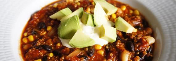 Vegetarisk chiligryta med quinoa